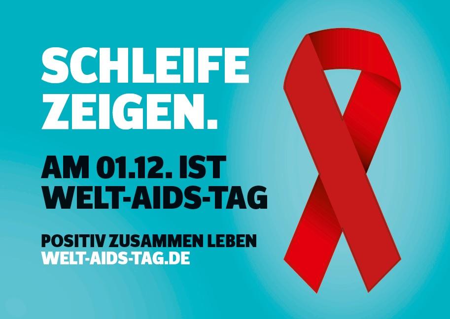 Welt Aids Tag 01.12. AIDS Schleife zeigen